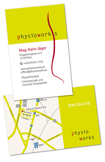 Grafikdesign Visitenkarten Physiotherapie Alexandra
