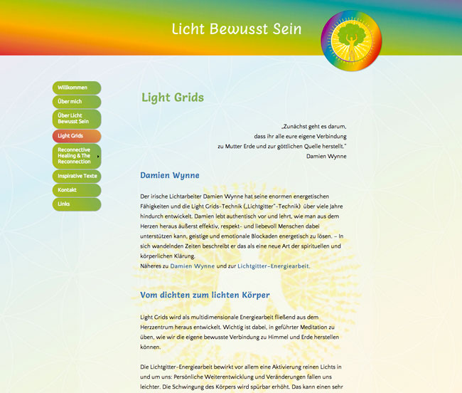 Homepagedesign Energetikerin - Lichtarbeit