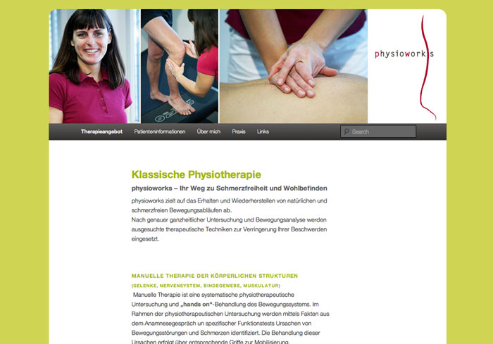 Physiotherapie Homepage Webdesign , by alexandra della toffola | grafiker/in in Wien